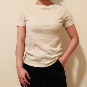 ANTHROPOLOGIE Cream and Gold Glittered T-Shirt
